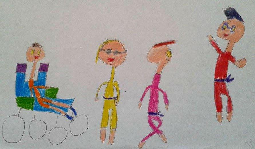 Já teve uma fase de querer desenhar meninos com deficiência. Temos vários guardados. É a misericórdia do seu coração.